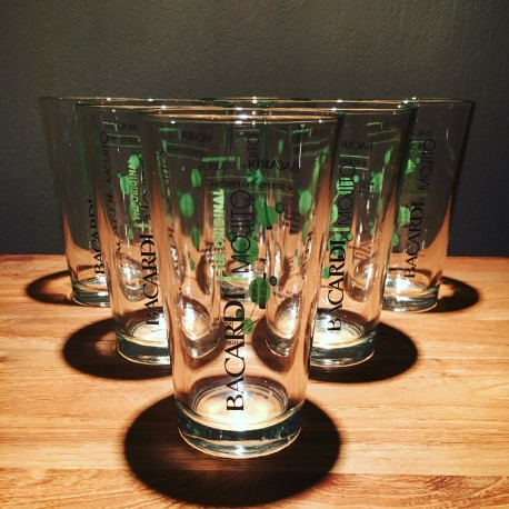 Lot de 6 verres Bacardi mojito collector