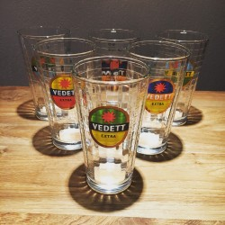 Set of 6 Vedett  glasses with facets & color logo