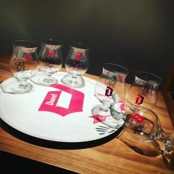 Set Duvel houten dienblad + 6 glazen