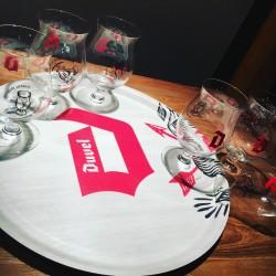 Set Duvel wooden tray + 6 glasses
