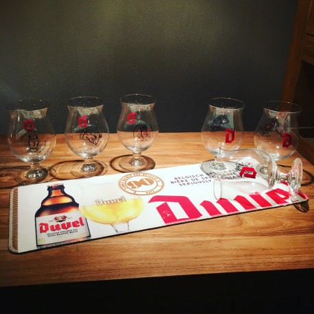 Set Duvel bar runner coton effect + 6 glasses