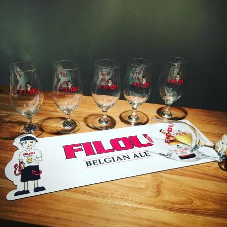 Set white bar runner + 6 glasses Filou