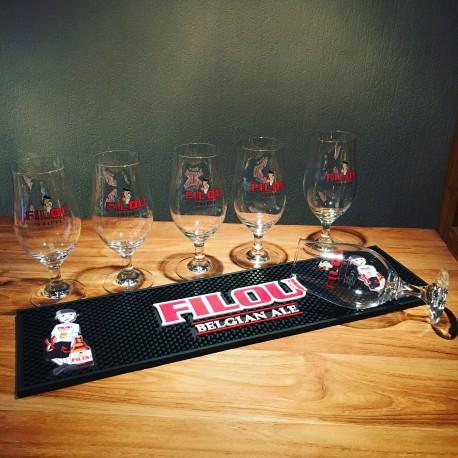 Set bar runner + 6 glasses Filou