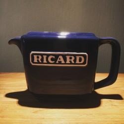 Pitcher bright blue rectangular ceramic Ricard
