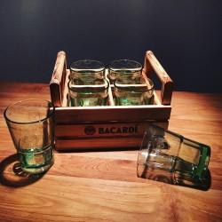 Houten mand Bacardi en 6 mojito glazen
