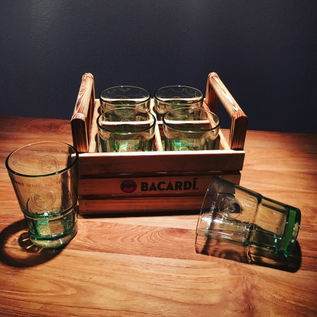 Wooden basket Bacardi mojito and 6 glasses