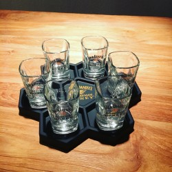 Plateau voor Jack Daniel's Tennessee Honey shooters + 6 shooters