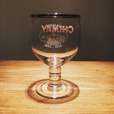 Verre bière Chimay émaillé 150 ans