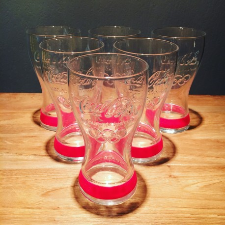Pack of 6 Coca-cola glasses Olympics 2012 Pink