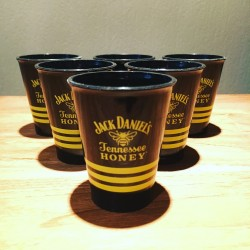 Glas Jack Daniel's Honey shooter zwart in PVC