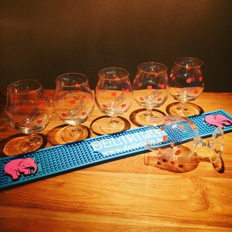 Kit Delirium Tremens 6 verres + 1 tapis de bar